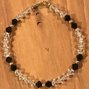 "Jewelry - 14K Solid Gold Crystal Onyx Beads 7"" Bracelet"